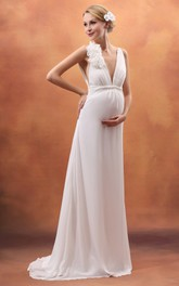 Backless Floral High-Waist V-Neckline Pregnant Dress