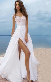 Sexy Beach Style Chiffon Scoop-neck Cap-sleeve Slit Front Dress with Lace
