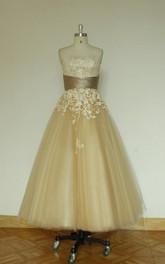 Bridal Lace Appliqued Tea-Length Vintage-Inspired Dress