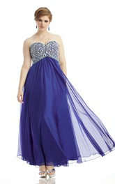Sweetheart Chiffon Ankle-length Prom Dress With Beaded top