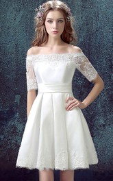 Short Lace A-Line Half-Sleeved Satin Dress