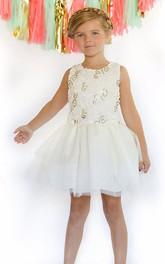 Tulle Ribbon Midi-Length Embroidered Flower Girl Dress