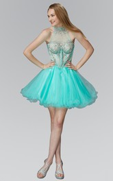 A-Line Illusion Jeweled Ruffled Short Mini Sleeveless High-Neck Tulle Dress