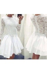 3 4 Length Sleeve A-line Short Mini High Neck Ruching Ruffles Chiffon Lace Homecoming Dress