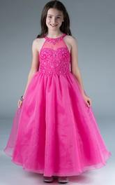 Organza Sequined-Top High-Neckline Floor-Length Flower Girl Dress