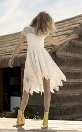 Country Informal Knee-length Short Sleeve Wedding Dress With Illusion Lace Details