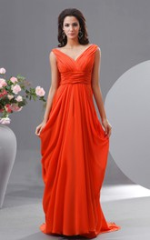 Floor-Length Draped V Back High-Waist Chiffon V-Neckline Dress