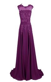 Chiffon Embroidered Bodice V-Neckline Sleeveless Gown