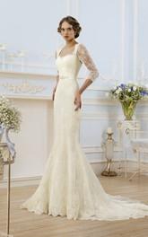 Illusion-Sleeve Ribbon Long Sheath Lace Dress