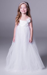 Floral Sleeveless A-Line Tulle Flower Girl Dress