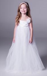 Floral Sleeveless A-Line Tulle Flower Girl Dress