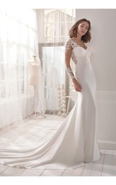 Stylish Long Sleeve Jersey Wedding Dress With Chapel Train