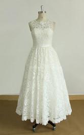Jewel-Neck Sleeveless Tea-length Lace Wedding Dress