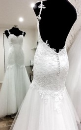 Tulle Satin Backless Trumpet Bridal Lace Dress