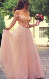 Jewels Short-Sleeves Prom Princess Lovely Long Tulle Dress