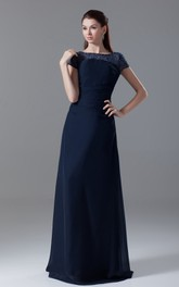 Pleated-Sleeve Crystal Bateau-Neckline Floor-Length Dress