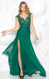Cap-sleeve Jersey Lace Appliqued Dress With Split Front And Low-V Back