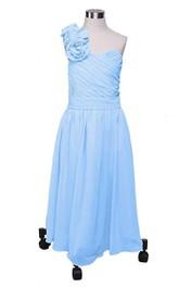 Floral Criss Cross A-Line One-Shoulder Gown