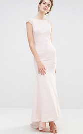 Sheath Ankle-Length Short Sleeve Bateau Neck Chiffon Bridesmaid Dress