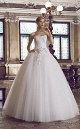 Lace Floral Corset Back Tulle Strapped Bridal Dress
