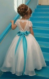 Ball Gown Floor-length Scoop Cap Short Sleeve Organza Dress with Beading