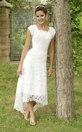 Scoop Lace Cap Short Sleeve Wedding Gown
