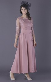 3/4 Illusion Sleeve Ankle Length Chiffon Mother Of The Bride Dress