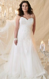 Sweetheart Appliqued A-line Tulle plus size wedding dress With Corset Back