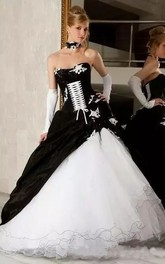 Sweetheart A-Line Sleeveless Organza Taffeta Floor-length Wedding Dress with Zipper Corset Back