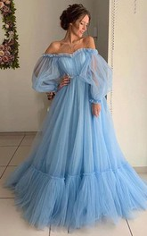 Off-the-shoulder Tulle Long Sleeve Sweep Train Lace-up Back Ball Gown Formal Dress