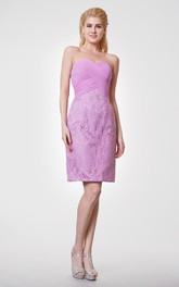 Sweetheart Sheath Knee Length Allover Lace Dress With Chiffon Bodice