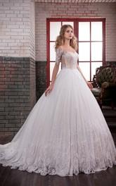 Off-The-Shoulder Appliqued Lace Pleats Ball-Gown Princess Illusion Dress