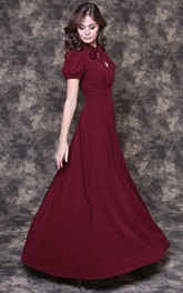 bowed neck Short Sleeve Floor-length Dress