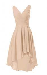 Asymmetrical Chiffon V-Neckline Sleeveless Ruched Dress
