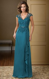 Long Ruffled Crystals V-Neckline Cap-Sleeved Gown