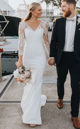 Ethereal Sheath V-neck Lace Satin Floor-length Sweep Train Wedding Dress