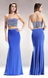 2-Piece Backless Pleated Jeweled Column Sweetheart Sleeveless Strapless Jersey Dress
