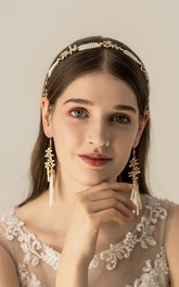 Trendy Pearl Alloy Bridal Headbands and Earrings