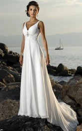Sleeveless For Brides Bridal V-Neckline High-Waist Beach Dress