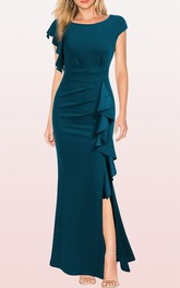 Casual Bateau Jersey Sheath Guest Dress With Ruffles and Split Front