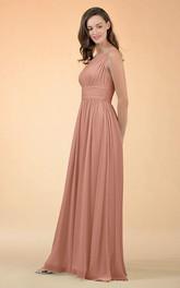Elegant A Line Chiffon One-shoulder Floor-length Bridesmaid Dress With Ruching