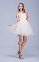 Tulle Lace Bowknot Illusion Modern Dress