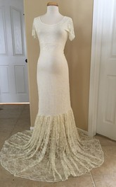 Mermaid Scoop Pleated Short Sleeve Floor-length Brush Train Lace Maternity Wedding Dress