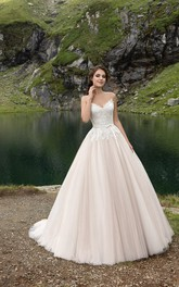 Tulle Lace Bodice Pleatings Romantic V-Neckline Gown