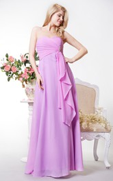 Sexy Sweetheart Crisscross Bodice Chiffon Gown With Beadings