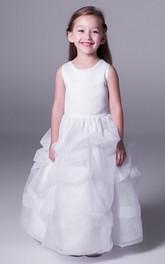Floor-Length Scoop-Neckline A-Line Satin Flower Girl Dress