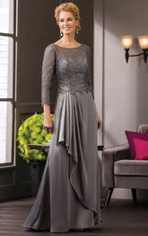 Scoop-neck 3-4-sleeve Lace Mother of the Bride Dress With Draping