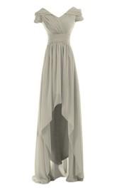High-Waist Chiffon High-Low Short-Sleeved Ruched Dress