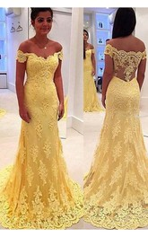 Appliqued Fishtail Off-The-Shoulder Yellow Modern Gown