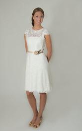 Lace Satin Sash Flower Cap Scalloped Gown